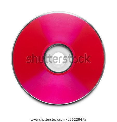 Red CD with Copy Space Isolated on a White Background.
