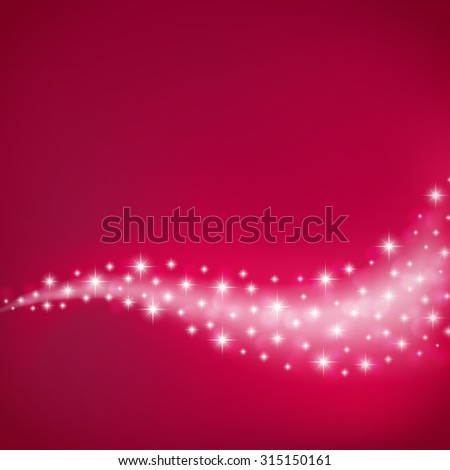red celebration background with flowing stars and light. raster version - stock photo