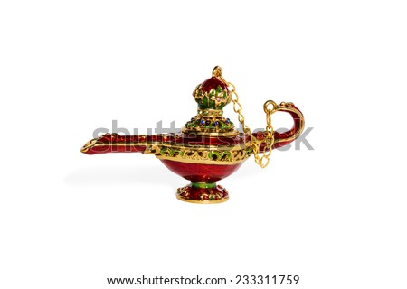 Red ceramic Aladdin magic lamp with a cover on a chain isolated on a white background - stock photo