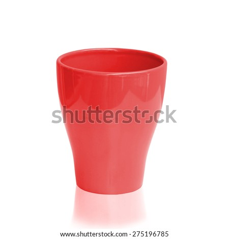 Red ceramic cup isolated on a white background.This has clipping path. - stock photo