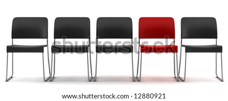 red chair among black chairs isolated on white background - stock photo