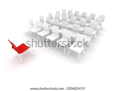 red chair in front of white chairs - stock photo