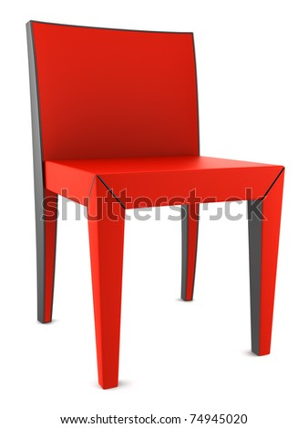 red chair isolated on white background with clipping path