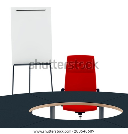 red chair of the leader at a round table and flip chart - stock photo