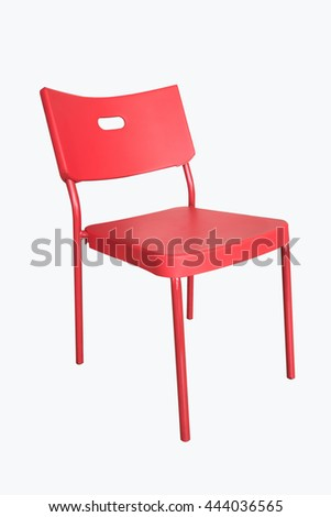Red chair on a white background clipping path.