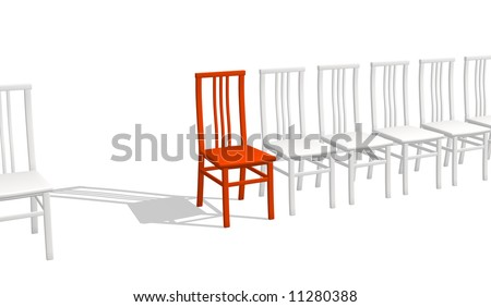 Red chair rejecting a shadow, in a row of white chairs. Objects over white