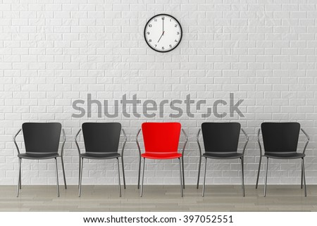 Red Chair with Another Black against white brick wall with Modern Clock - stock photo