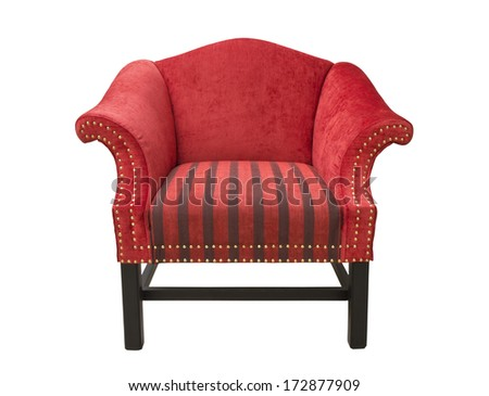 Red Chair with armrests on white background