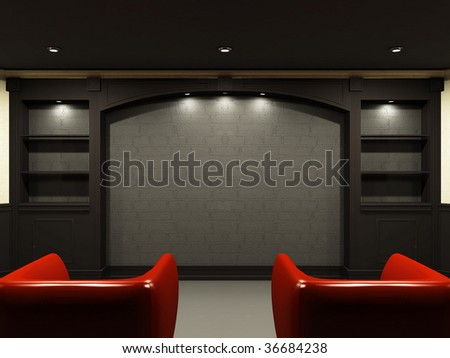 Red chairs in living room with empty place on the wall - stock photo