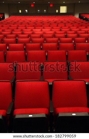 Red Chairs in movie theater - stock photo