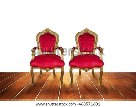 Red chairs placed on the wooden floor , 3d illustration