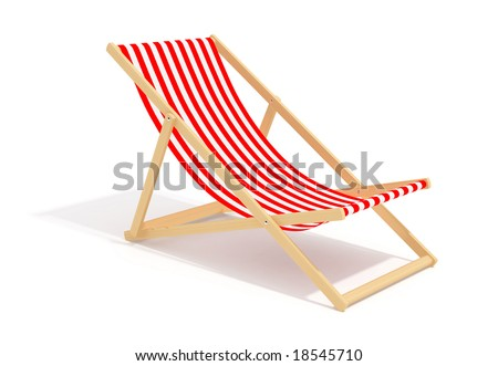 red chaise longue on white background - stock photo