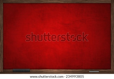 Red chalk board in wooden frame - stock photo