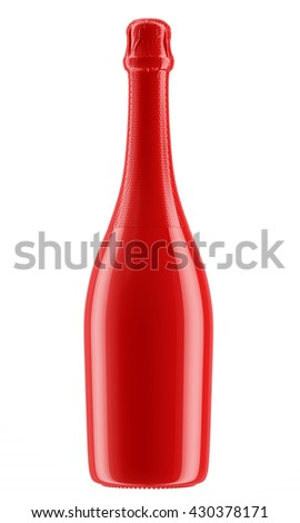 Red Champagne or sparkling wine bottle isolated on white background. 3D Mock up for your design. - stock photo