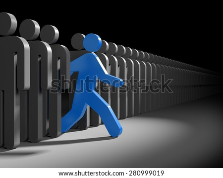Red character runs from the crowd of gray characters. Symbolizes leadership and originality - stock photo
