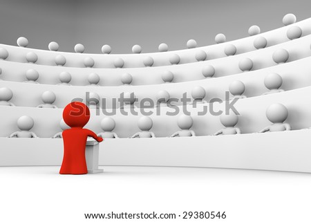 red character standing by a lectern facing an audience of white characters sitting in five levels of tiered seating; 3d rendering - stock photo