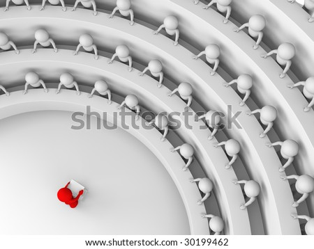 red character standing by a lectern facing an audience of white characters sitting in five levels of tiered seating; view from above; 3d rendering - stock photo