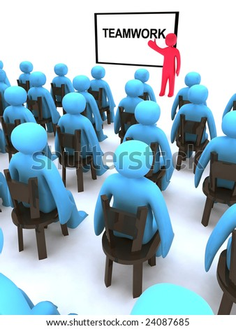 Red character talking about teamwork. This is 3d render. - stock photo