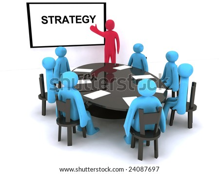Red characters talking about strategy on meeting. - stock photo