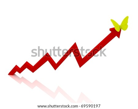 Red Chart with yellow butterfly - stock photo
