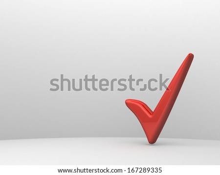 Red check mark on empty white wall background - stock photo