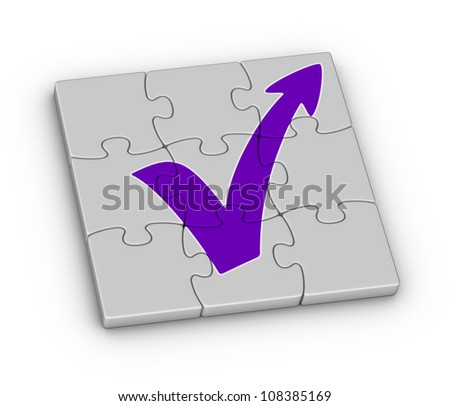 Red check mark with arrow on jigsaw puzzle - stock photo
