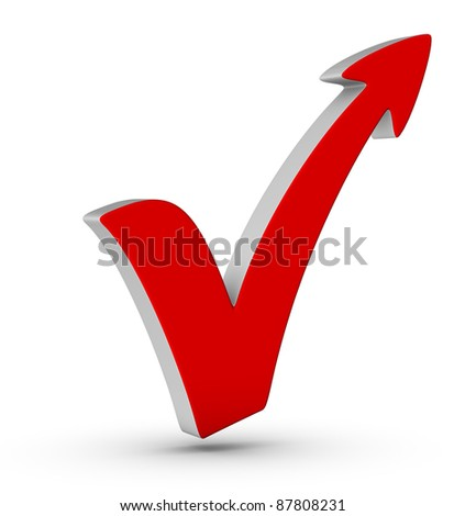 Red check mark with arrow on white background - stock photo