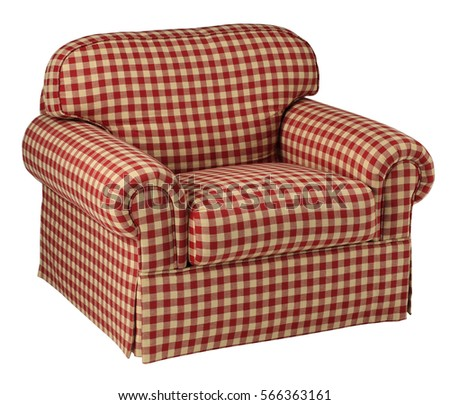 Red Checked Upholstered Chair Front View With Clipping Path.