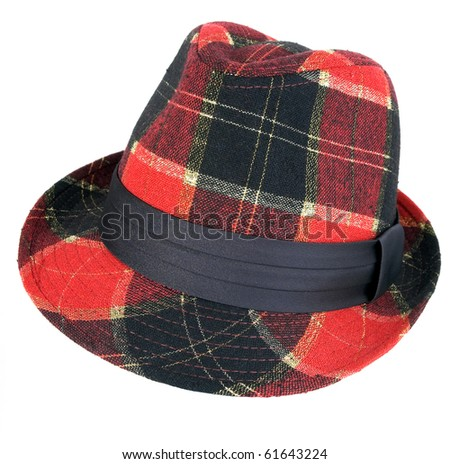 Red checkered female hat with fields - stock photo