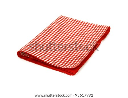 Red checkered picnic cloth isolated on white - stock photo
