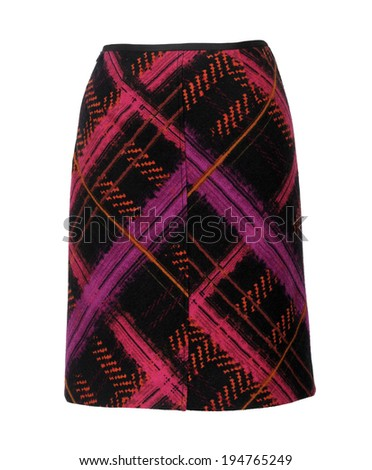 red checkered skirt isolated on white - stock photo