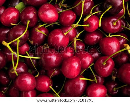 Red cherries for sale on a market