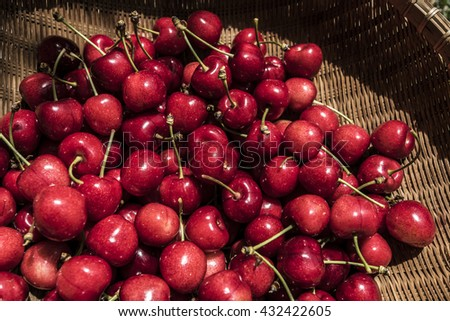 Red cherries from above