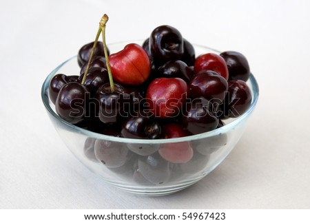 Red cherries in glass bowl