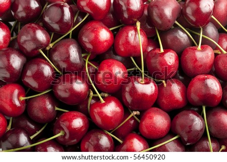 Red cherries in heap with focus across cherries on top layer.