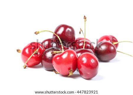 Red Cherry Fruit  ripe juicy fresh on white background  - stock photo