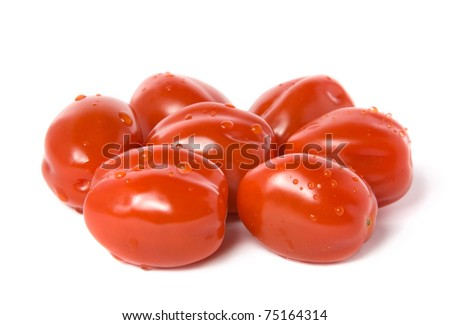 Red cherry tomatoes isolated on white - stock photo