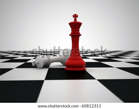 Red chess king last piece standing - stock photo