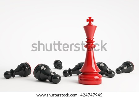 Red chess king win vs black pawns. Business concept of leadership. Chess game over. 3d rendering. - stock photo