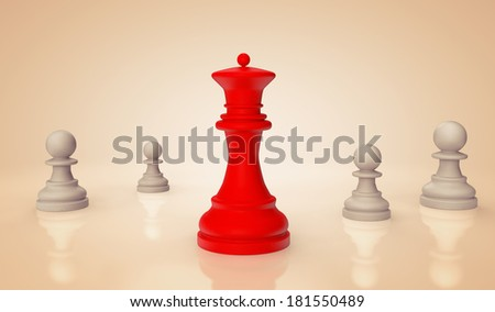 Red chess Queen with pawns on a white background