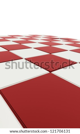 Red chessboard concept on white background