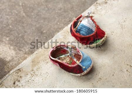 red child chinese shoe - stock photo