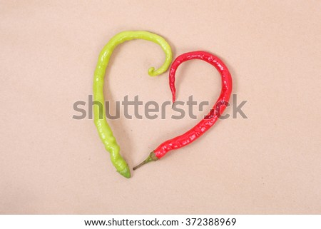 red chile pepper in the form of a heart  - stock photo