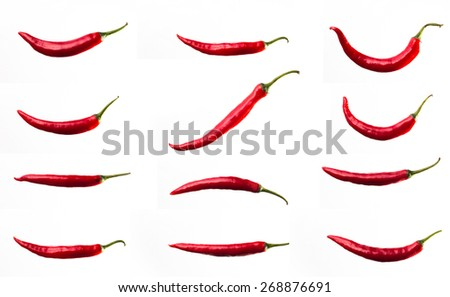 Red chili on isolated background. - stock photo