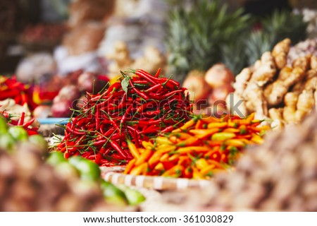 Red chili on the traditional vegetable market in Hanoi, Vietnam - stock photo