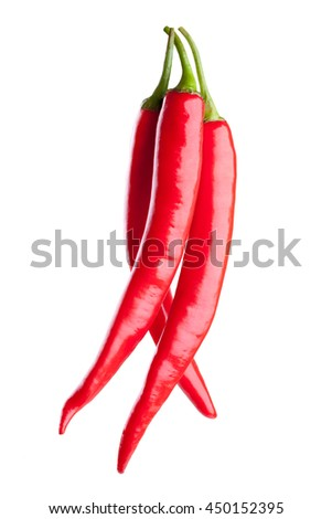 red chili or chilli cayenne pepper isolated on white background  - stock photo