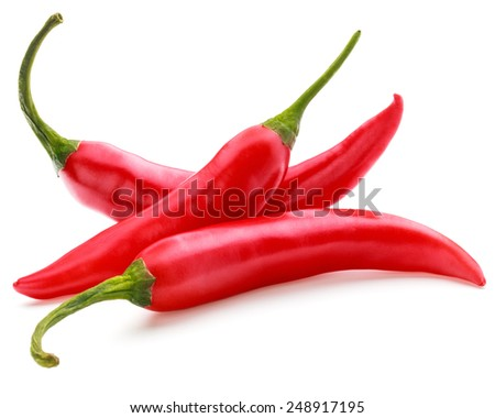 red chili or chilli cayenne pepper isolated on white  background cutout - stock photo