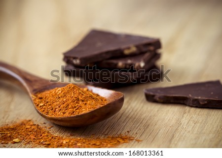 Red Chili Pepper and Chocolate  - stock photo