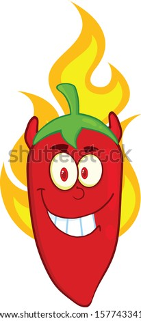 Red Chili Pepper Devil Cartoon Mascot Character On Fire. Raster Illustration - stock photo