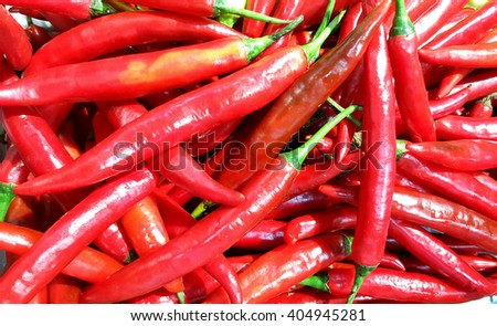 Red chili pepper. Spicy red hot chili peppers. Chili peppers at local market. - stock photo